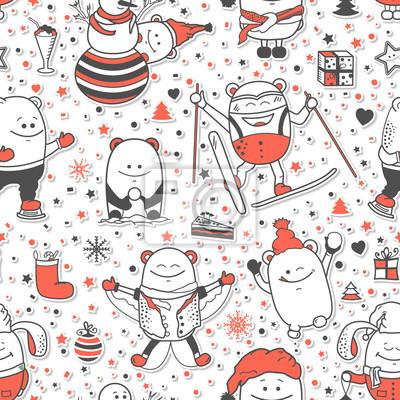Vector Weihnachten Nahtlose Muster Mit Lustigen Monstern Person