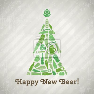 Bier Weihnachtsbaum.Bild Vector Weihnachtsbaum Bier Plakat Glückliches Neues Bier Tagline