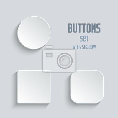 Bild Vector weiße leere Schaltflächenset. Runde runde abgerundete Tasten