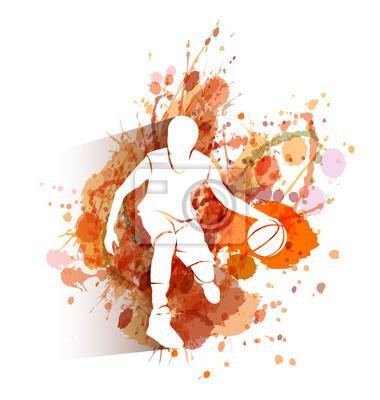 Vector weißes Schattenbild des Basketball-Spielers auf Aquarellhintergrund