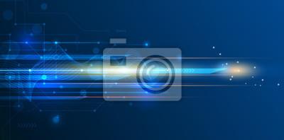 Bild Vektor abstrakt, Wissenschaft, futuristisch, Energie-Technologie-Konzept. Digitales Bild von Lichtstrahlen, Streifen Linien mit blauem Licht, Geschwindigkeit und Bewegungsunschärfe über dunkelblauen H