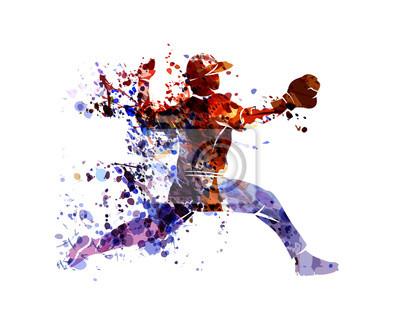 Vektor-Aquarell-Silhouette-Baseball-Spieler