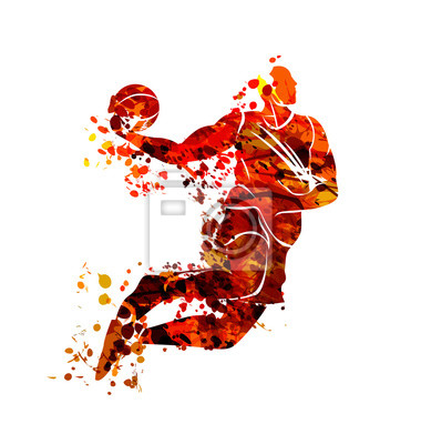 Vektor-Aquarell-Silhouette-Basketball-Spieler