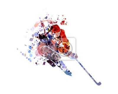 Vektor Aquarell Silhouette Hockeyspieler
