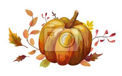 Bild Vektor-Blumenaquarellart-Kartendesign Herbstsaison mit orange großem Kürbis, gelbe braune rote Zweigwaldfall-Blätter Kräutermischung. Gruß, Postkartenhochzeit laden dekorative Naturillustration ein