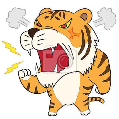 Bild Vektor Cartoon Charakter Tiger Wütend