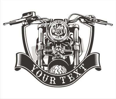 Bild Vektor-Design Vintage Motorrad mit einem Band unten