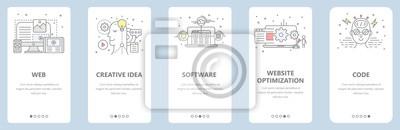 Bild Vektor dünne Linie flache Design, Web-Entwicklung Konzept Banner