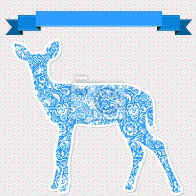 Vektor-Grußkarte mit blauen Hirsch