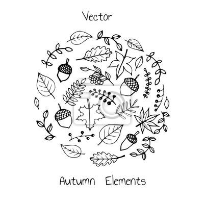 vektor hand gezeichnet satz von herbst elemente laub beeren leinwandbilder bilder vogelbeere. Black Bedroom Furniture Sets. Home Design Ideas