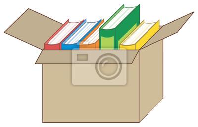 Bild Vektor-Illustration der Bücher in einer offenen Box