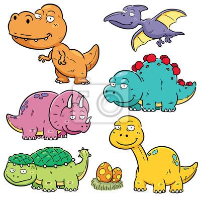 Bild Vektor Illustration Der Dinosaurier Cartoon Figuren