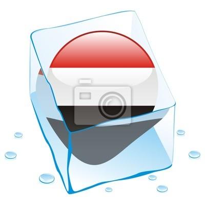 Bild Vektor-Illustration der Jemen Schaltfläche Flag in Eiswürfel eingefroren