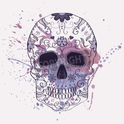Bild Vektor-Illustration der Tag der Toten Schädel mit Ornament und Aquarell splash
