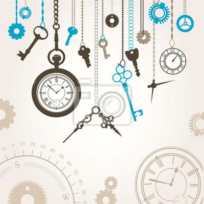 Bild Vektor-Illustration der Wahl, Kompass, Schlüssel und Teile Stunde
