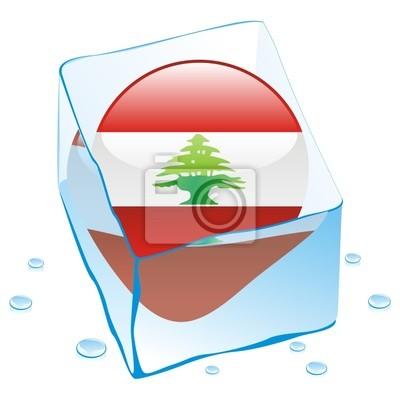 Bild Vektor-Illustration des Libanon Schaltfläche Flag in Eiswürfel eingefroren