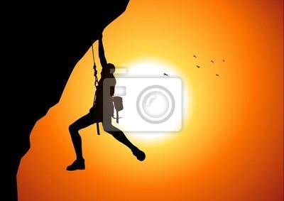 Vektor-Illustration einer Figur Mann hängt an der Klippe