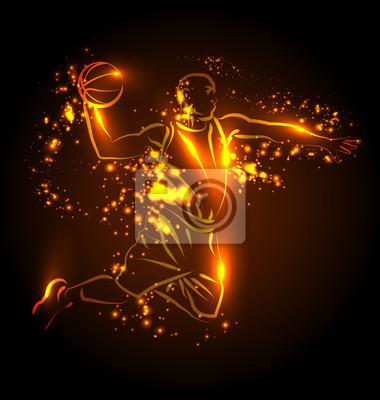 Vektor-Illustration eines Basketball-Spieler mit Lichteffekten