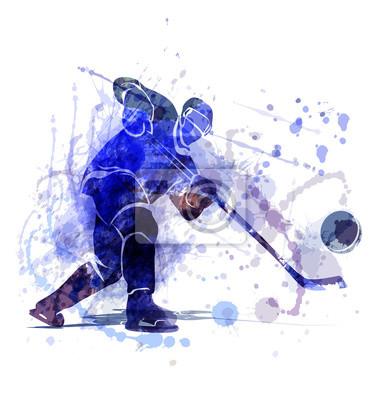 Vektor-Illustration eines Eishockeyspielers mit Puck