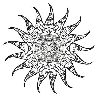 Bild Vektor Illustration Eines Schwarz Weiß Mandala Sonne Zum Ausmalen