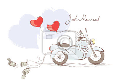 Karte Hochzeit.Bild Vektor Illustration Karte Hochzeit Motorrad Mit Beiwagen