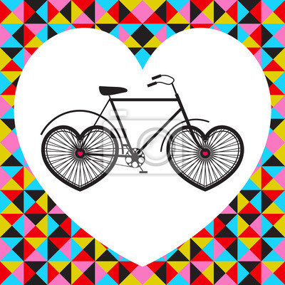 Vektor-Illustration mit dem Fahrrad in Herz, abstrakt