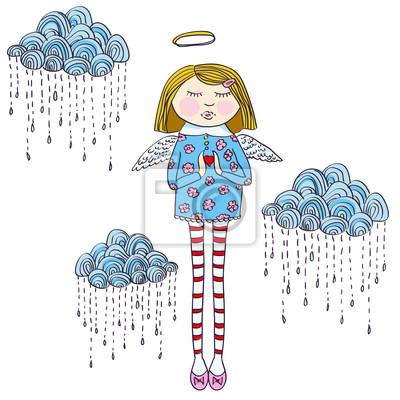 Vektor-Illustration mit Engel, Wolken, Herzen
