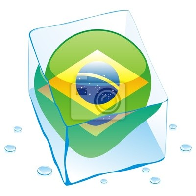 Bild Vektor-Illustration von brasilien Schaltfläche Flag in Eiswürfel eingefroren