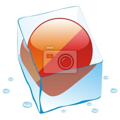 Bild Vektor-Illustration von buthan Schaltfläche Flag in Eiswürfel eingefroren