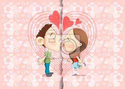 Vektor-Illustration von Küssen mit Hintergrund