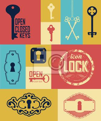 Bild Vektor-Illustration von Retro-Tasten. Logo Öffnen und Schließen.
