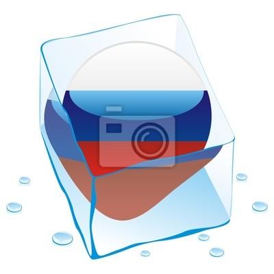 Bild Vektor-Illustration von russland Schaltfläche Flag in Eiswürfel eingefroren