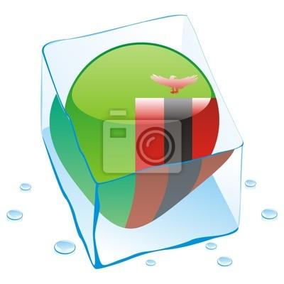 Bild Vektor-Illustration von Sambia Schaltfläche Flag in Eiswürfel eingefroren