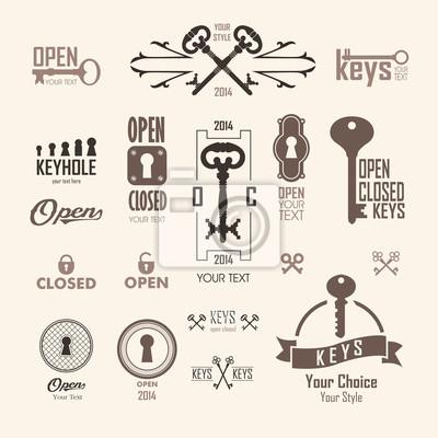 Bild Vektor-Illustration von Vintage-Schlüsseln.