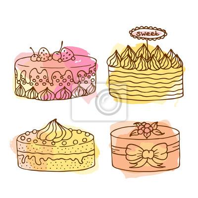 Vektor Kuchen Abbildung Set Von 4 Hand Gezeichnet Kuchen Mit