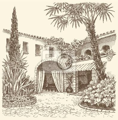 Bild Vektor Landschaft. Eine Skizze Des östlichen Innenhof