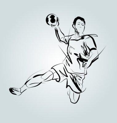 Vektor-Linie Skizze eines Handballspielers
