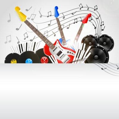 Bild Vektor-Musik-Hintergrund mit Instrumenten und Musikanlage