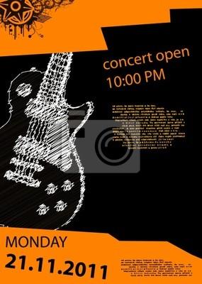 Vektor-Musik-Poster mit Gitarre