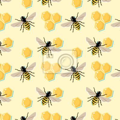 Vektor-Muster mit Bienen und Waben