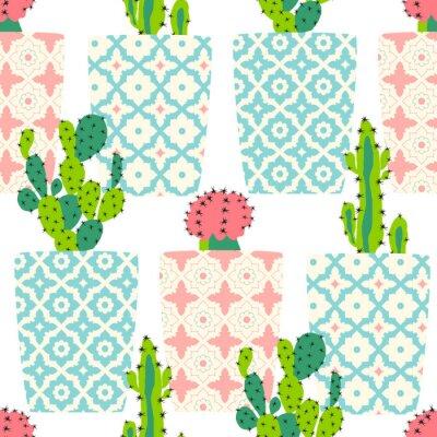 Bild Vektor-Muster mit Kakteen. Nette Kaktusblumen in den dekorativen Töpfen. Handzeichnung illustration.