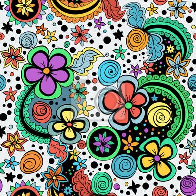 Bild Vektor nahtlose Farbblumenmuster