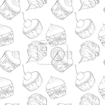 Vektor nahtlose Muster mit Cupcakes, skizzieren
