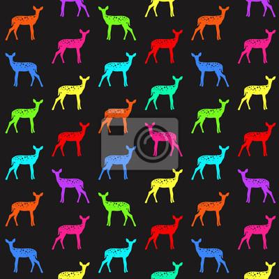 Vektor nahtlose Muster mit Hirsch in lebendigen Farben
