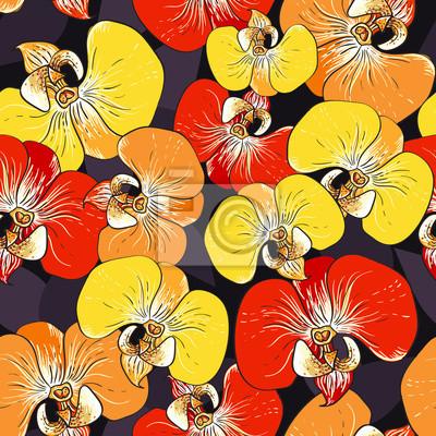 Vektor nahtlose Muster mit Orchideenblüten