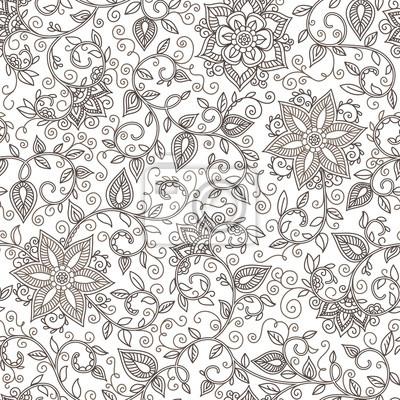 Bild Vektor nahtlose Schwarz-Weiß-Muster von Spiralen, wirbelt, doodles