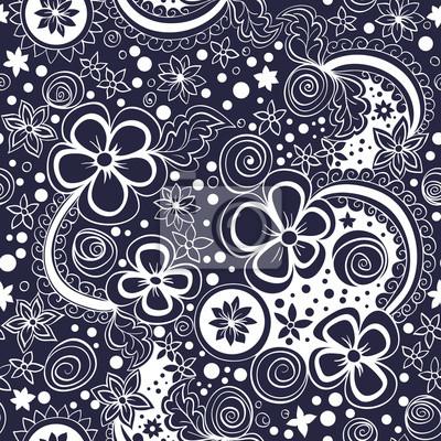 Bild Vektor nahtlose schwarze und weiße Blumenmuster