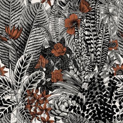 Bild Vektor nahtlose Vintage Muster. Exotische Blumen und Pflanzen. Botanische klassische Illustration.