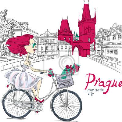 Bild Vektor niedliche Mädchen auf dem Fahrrad in Prag