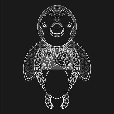 Bild Vektor Pinguin Für Erwachsene Malvorlage Seite Hand Gezeichnet
